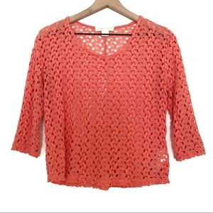 Staring at Stars | Coral Open Knit 3/4 Sleeve Top
